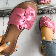 Mulheres PU Sem salto Sandálias Chinelos com Bowknot sapatos