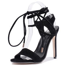 Women's Patent Leather Stiletto Heel Sandals Pumps Peep Toe Slingbacks With Lace-up shoes