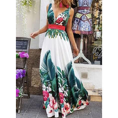 Print/Floral Sleeveless A-line Party/Vacation Maxi Dresses