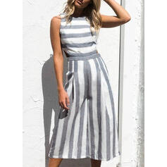 Striped Sleeveless Casual Dresses