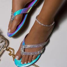 De mujer PU Tacón plano Sandalias Encaje Chancletas Pantuflas con Rhinestone zapatos