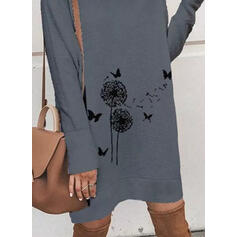Animal Print Long Sleeves Shift Knee Length Casual Tunic Dresses