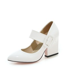 Women's Patent Leather Chunky Heel Pumps With Buckle shoes