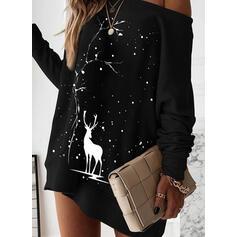 Animal Print Long Sleeves Shift Above Knee Christmas/Casual Sweatshirt Dresses