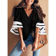 Print V-Neck Flare Sleeve 3/4 Sleeves Casual Blouses