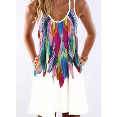 Print Sleeveless Shift Above Knee Casual/Boho/Vacation Dresses