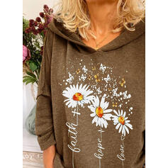 Floral Animal Print Figure Long Sleeves Hoodie
