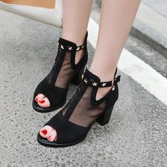 Kvinder Ruskind Mesh Stor Hæl sandaler Pumps Kigge Tå med Lynlås sko
