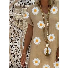 印刷/フローラル 半袖 シフトドレス 膝丈 カジュアル Tシャツ ドレス