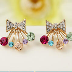 Exquisite Bow Shaped Alloy Rhinestones Earrings
