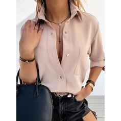 твердый отворот Длинные рукова Кнопка вверх Повседневная Рубашка Блузки