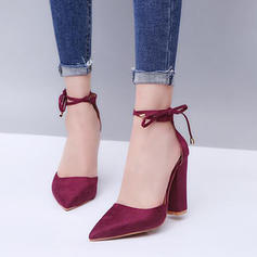 Women's Velvet Chunky Heel Pumps With Others shoes