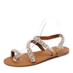 Femmes PU Talon plat Sandales Chaussures plates À bout ouvert avec Perle d'imitation chaussures