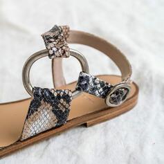 Dla kobiet PU Płaski Obcas Sandały Otwarty Nosek Buta Z Klamra Tkanina Wypalana obuwie
