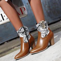 Жіночі ПУ Квадратні підбори Чоботи з Блискавка взуття
