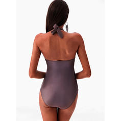 Solid Color Halter Elegant Plus Size One-piece Swimsuits