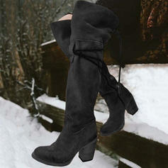 Women's PU Chunky Heel Pumps Boots Over The Knee Boots With Lace-up shoes