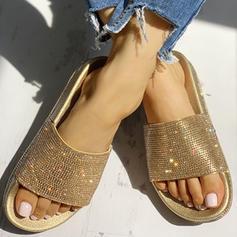 Низька підошва Сандалі взуття на короткій шпильці Тапочки з Сіяючі камені взуття