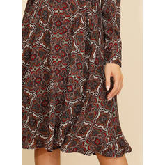 Print/Floral Long Sleeves A-line Knee Length Casual Dresses