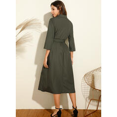 Solid Long Sleeves A-line Shirt Casual Midi Dresses