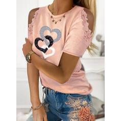 Potisk Krajka Inima Odhalená Ramena Krátké rukávy Neformální Bluze