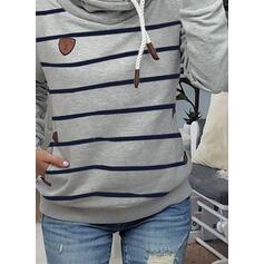 Striped Pockets Long Sleeves Hoodie