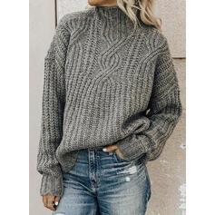 Sólido Punto De Cable Punto Grueso Cuello de Soporte Suéteres