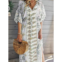 Print/Floral 1/2 Sleeves/Batwing Sleeves Shift Casual/Vacation Maxi Dresses