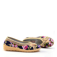 Femmes Tissu Talon plat Chaussures plates avec Une fleur chaussures