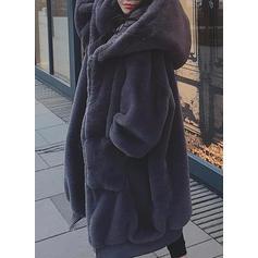 Fausse Fourrure Manches longues Couleur unie Manteaux en Peau de Mouton