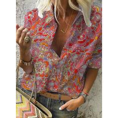 Print Lapel 3/4 Sleeves Casual Shirt Blouses