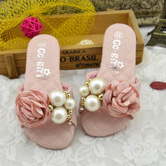 Girl's Leatherette Flat Heel Peep Toe Slingback Sandals Flats Slippers Flower Girl Shoes With Imitation Pearl Satin Flower