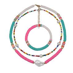 Bohème En couches Alliage Argile molle avec Perle d'imitation Coquille Parures Colliers Bracelets (Lot de 3)