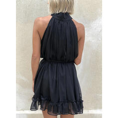 Solid Sleeveless A-line Above Knee Casual/Party Skater Dresses