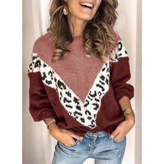 Color Block Animal Print Cable-knit Round Neck Sweaters