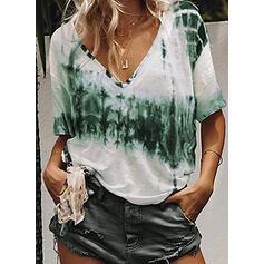 Tie Dye V-Ausschnitt Kurze Ärmel Freizeit T-shirts