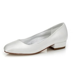 Women's Satin Chunky Heel Closed Toe Pumps Dyeable Shoes