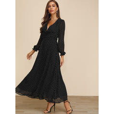 PolkaDot Long Sleeves A-line Maxi Party/Elegant Dresses