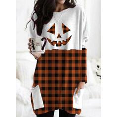 Grid Halloween Round Neck Long Sleeves Sweatshirt