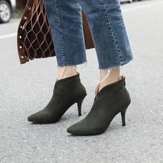 Femmes Suède Talon stiletto Escarpins Bout fermé Bottes Bottines avec Zip chaussures