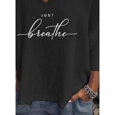 Figure Print V-Neck Batwing Sleeves T-shirts