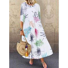 Print 1/2 Sleeves Shift Casual Midi Dresses