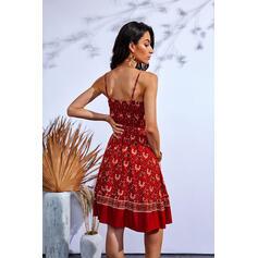 Impresión/Floral Sin mangas Vestido línea A Sobre la Rodilla Casual Camisón/Patinador Vestidos