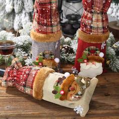 Merry Christmas Snowman Reindeer Santa Cloth Bottle Cover