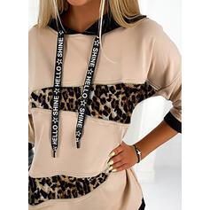 Blocchi di colore leopardo Maniche lunghe con cappuccio