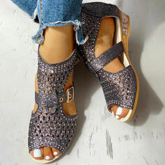 Pentru Femei PU Toc jos Sandale Puţin decupat în faţă cu Ştrasuri De la gât înafară pantofi
