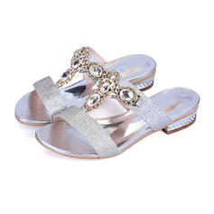 Women's Sparkling Glitter Low Heel Sandals Flats Peep Toe Slippers With Rhinestone Crystal shoes