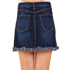Denim Plain Above Knee Demin Skirts
