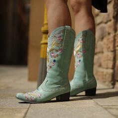 Vrouwen Suede Chunky Heel Half-Kuit Laarzen Puntige teen met Bloemen Geborduurd schoenen