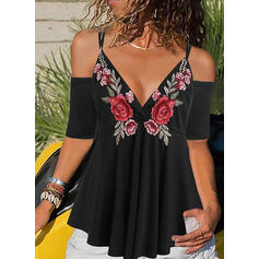 Embroidery Spaghetti Strap Cold Shoulder Short Sleeves Casual Blouses